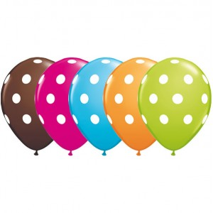 "11"" Big Polka Dots - Orange, Chocolate Brown, Robin's Blue, Wild berry & Lime Green (50ct) , *QL11RI84651"