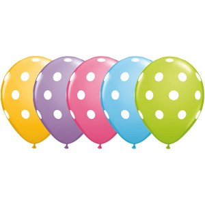 "11"" Big Polka Dots - Pale Blue, Goldenrod, Rose, Spring Lilac & Lime Green (50ct) , QL11RI86421"
