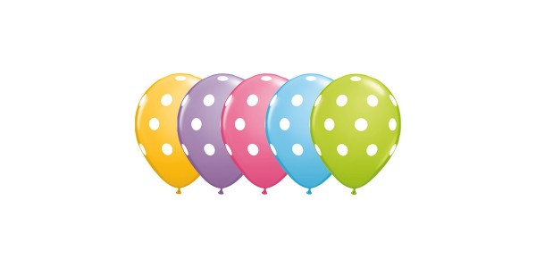 "16"" Big Polka Dots - Pale Blue, Goldenrod, Rose, Spring Lilac & Lime Green (50ct) , *QL16RI27496"
