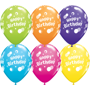 "11"" Happy Birthday Polka Dots (TW) - Tropical Assortment (50ct) , QL11RI12019 (0)"