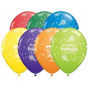 "11"" Birthday Cake & Candle (TV) - Carnival Assortment (50ct) , QL11RI18838 (0)"