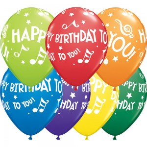 """11"""" Happy Birthday To You Music Notes (TV) - Carnival Assortment (50ct) , QL11RI19068 (0)"""