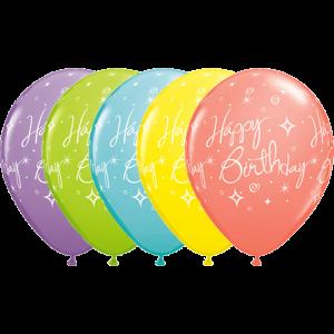 "11"" Birthday Elegant Sparkles & Swirls (TW) - Sorbet Assortment  (50ct) , QL11RI19167 (0)"