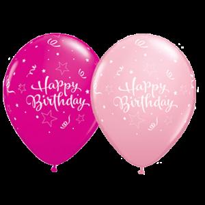 """11"""" Birthday Shining Star (TV) - Pink & Wild Berry (50ct) , QL11RI37500 (0)"""
