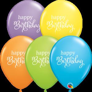 "11"" Simply Happy Birthday (LBN) - Bright Pastel Assortment (50ct) , QL11RI88279 (0)"