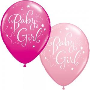 """11"""" Baby Girl Stars - Pink & Wild Berry  (50ct) , *QL11RI55930"""