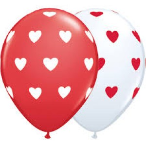 "16"" Big Heart - White & Red (50ct) , *QL16RI27537"