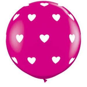 "36"" (3') Big Heart - Wild Berry w/White Ink (2ct) , *QL36RI31416"