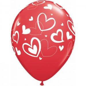 "11"" Mix & Match Hearts - Red (50ct) , *QL11RI40227"