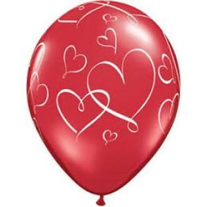 "11"" Romantic Hearts - Ruby Red (50ct) , *QL11RI40311"