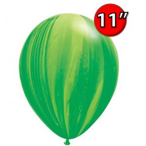 "11"" SuperAgate (25 pcs/ Bag) - Green Rainbow, **QL11RAG91539"