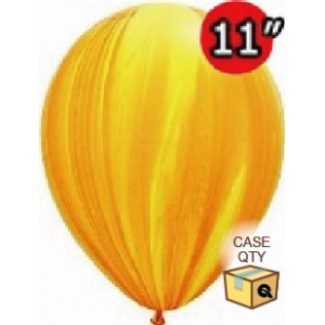 "11"" SuperAgate (40 Bags/ Case) - Yellow Orange Rainbow , **QL11RAGC91541"