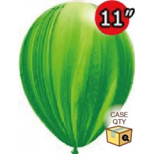 "11"" SuperAgate (40 Bags/ Case) - Green Rainbow, **QL11RAGC91539"