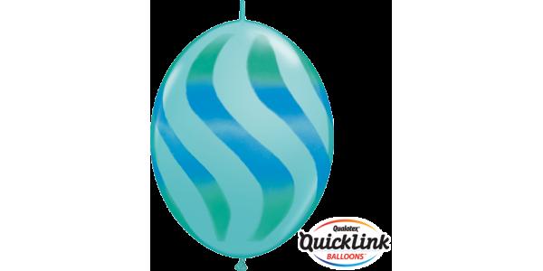 """12"""" QL-Wavy Stripes Green & Blue - Caribbean Blue (50ct) , *QL12LI28108"""